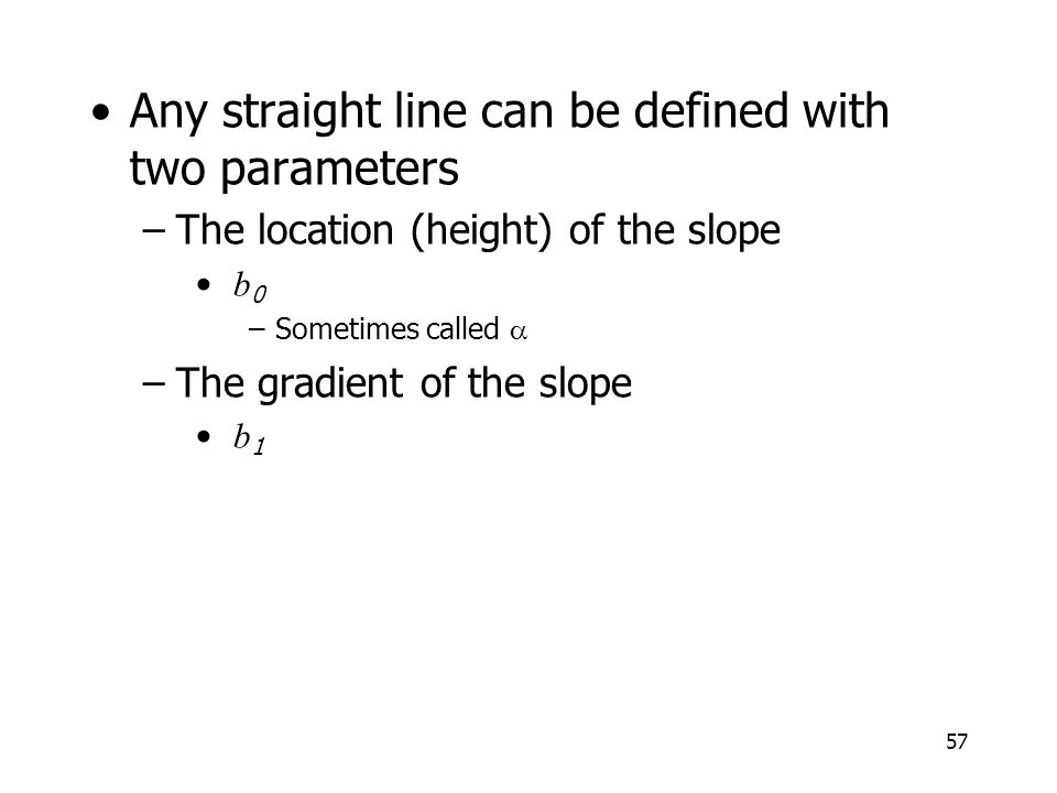 Any straight line can be defined with two parameters