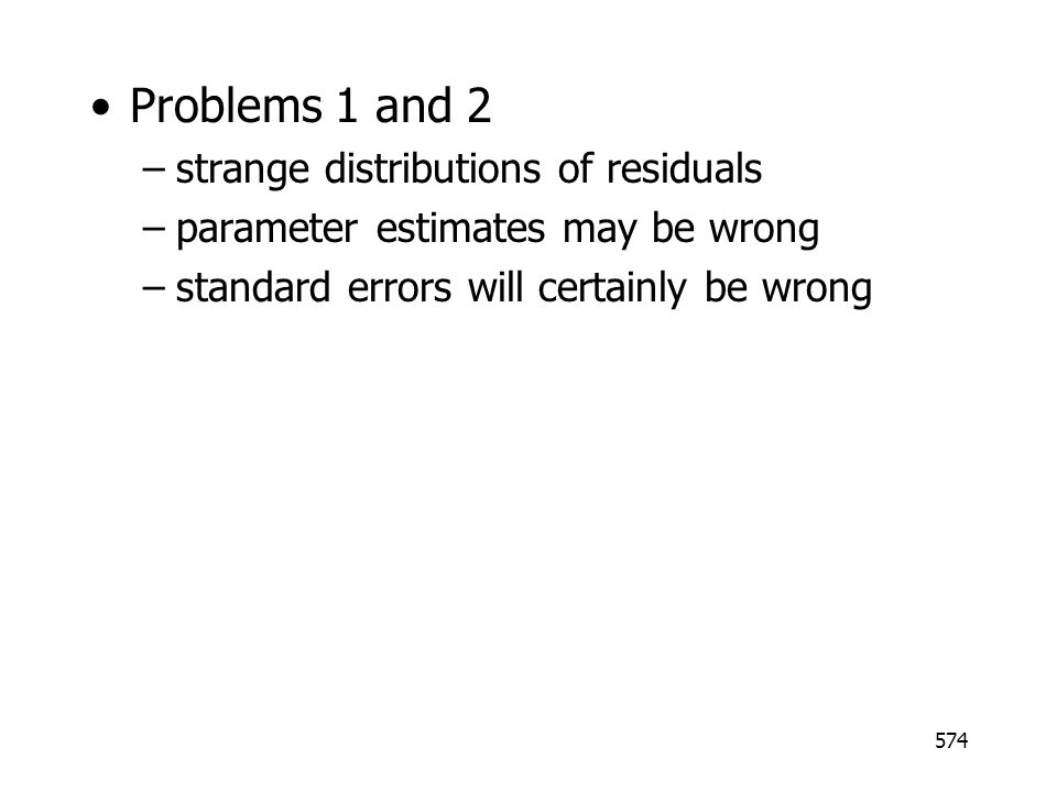 Problems 1 and 2 strange distributions of residuals