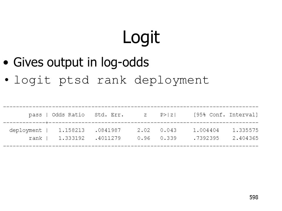 Logit Gives output in log-odds logit ptsd rank deployment