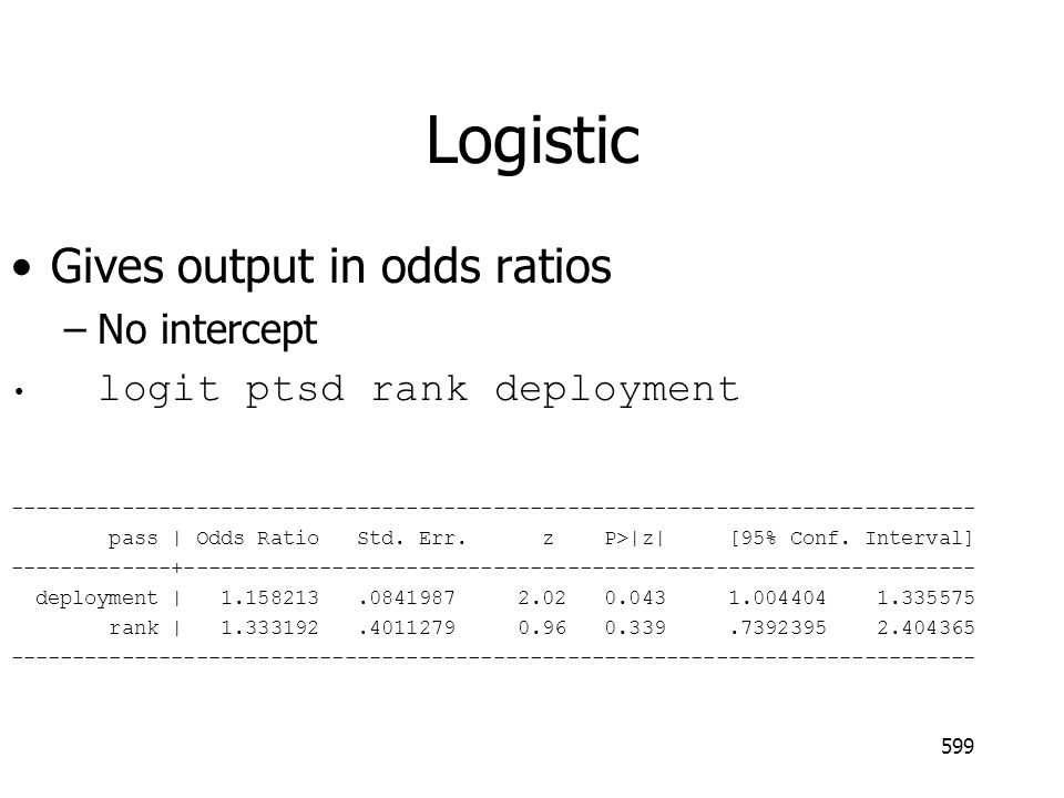 Logistic Gives output in odds ratios No intercept