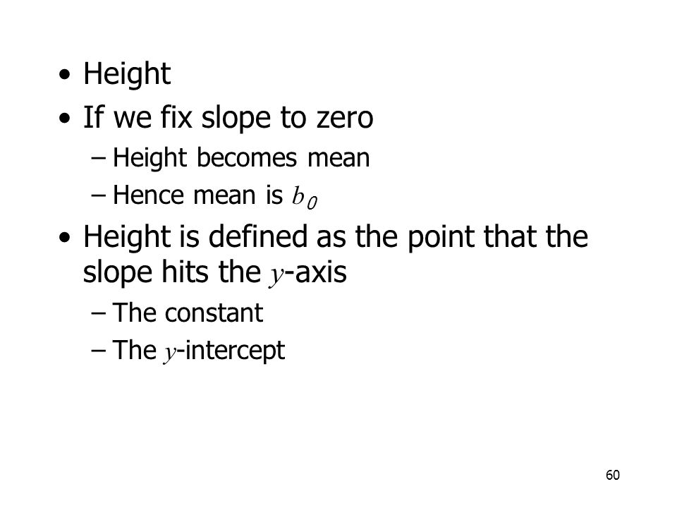 Height is defined as the point that the slope hits the y-axis