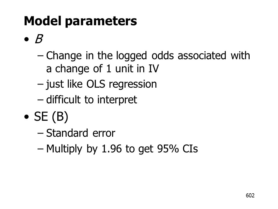 Model parameters B SE (B)