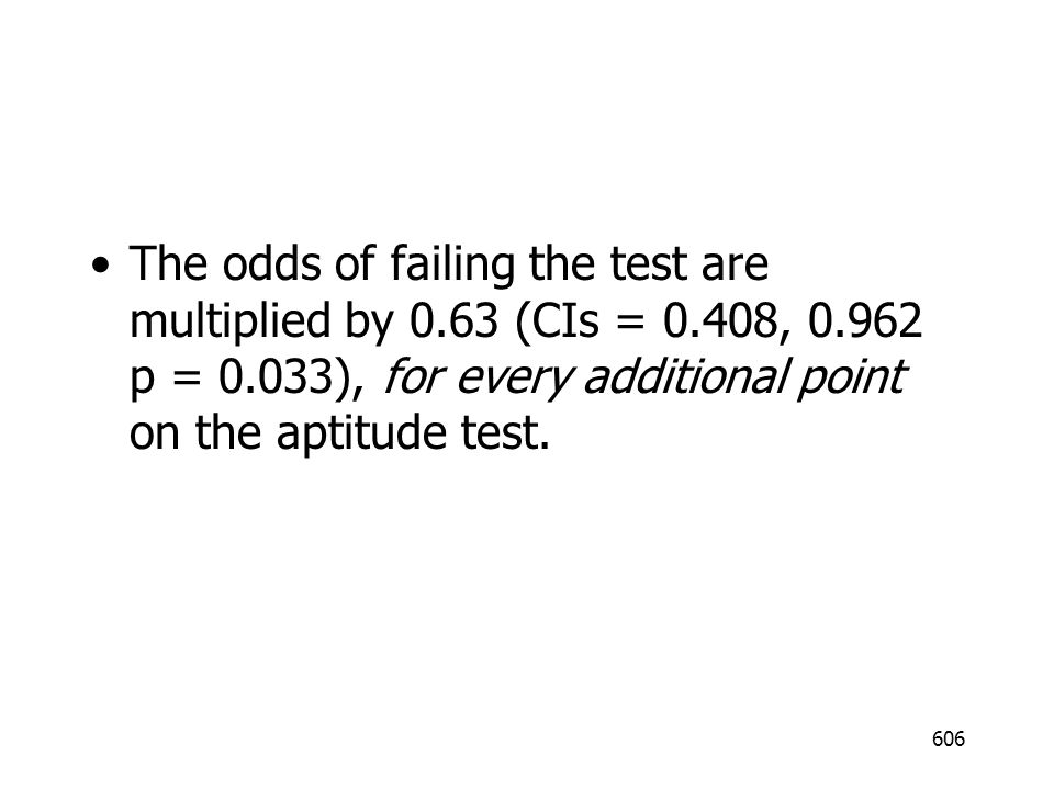 The odds of failing the test are multiplied by 0. 63 (CIs = 0. 408, 0