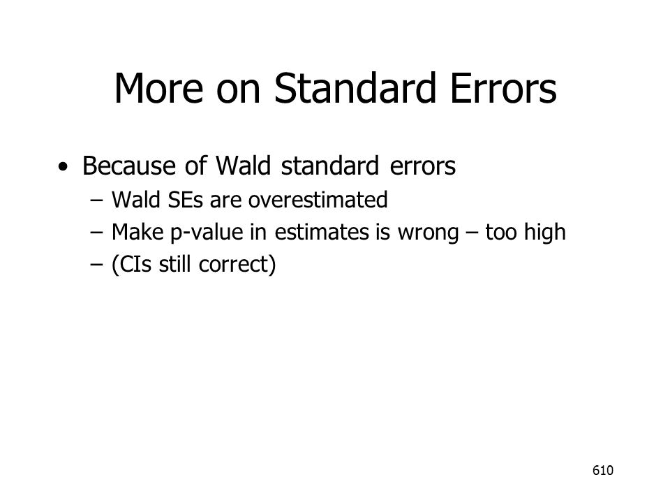 More on Standard Errors