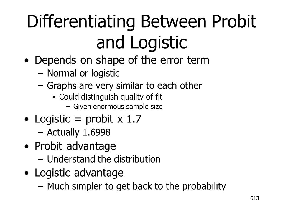 Differentiating Between Probit and Logistic