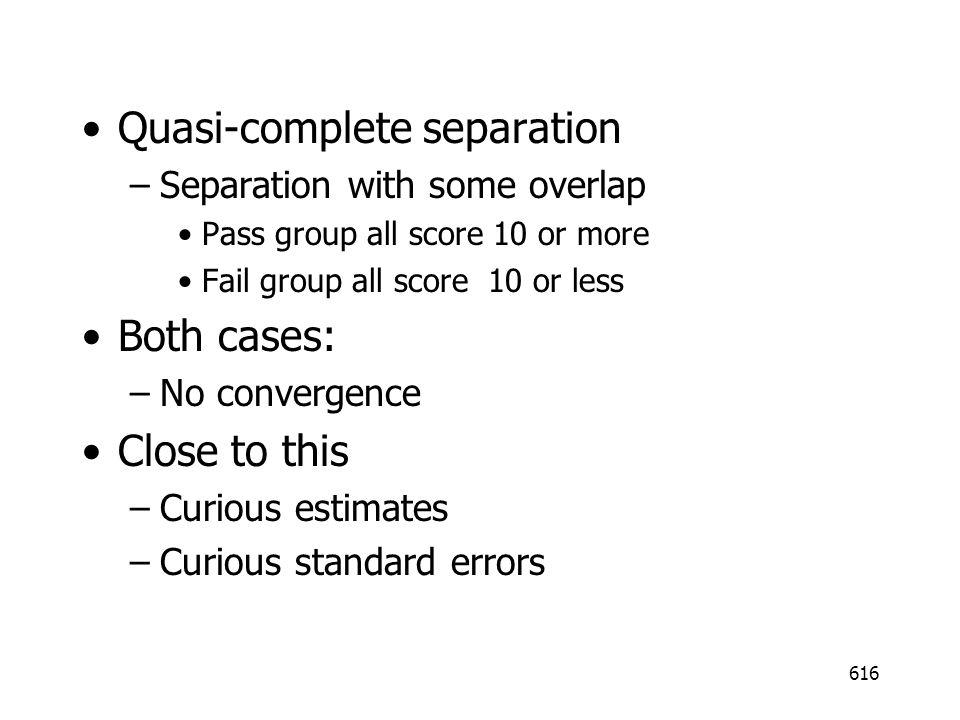 Quasi-complete separation