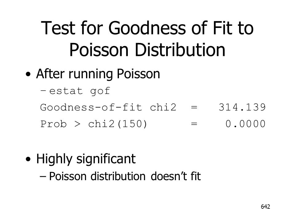 Test for Goodness of Fit to Poisson Distribution