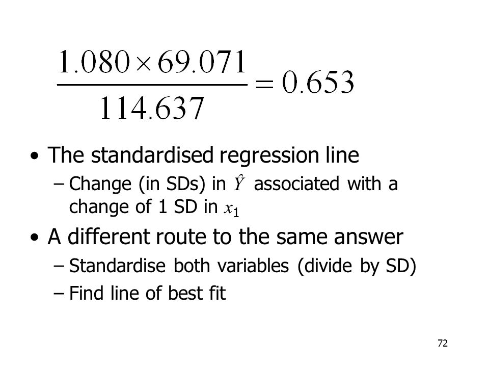 The standardised regression line