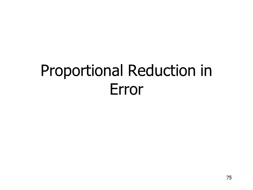 Proportional Reduction in Error