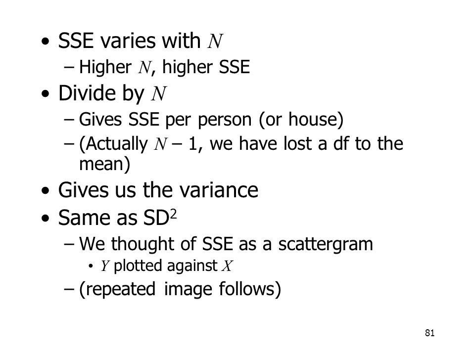 SSE varies with N Divide by N Gives us the variance Same as SD2