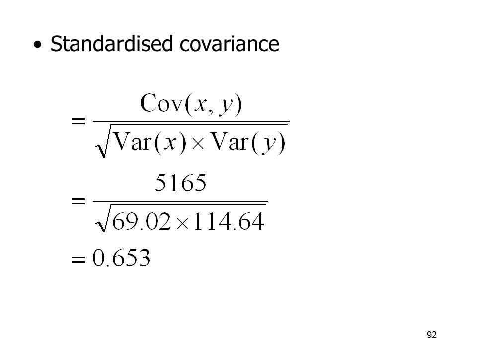 Standardised covariance