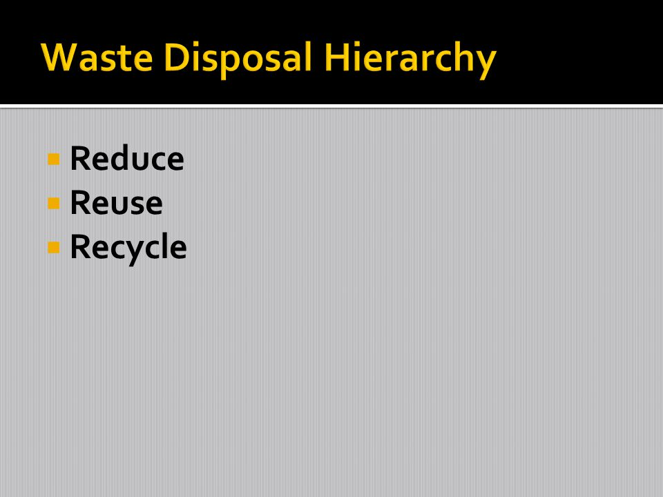 Waste Disposal Hierarchy