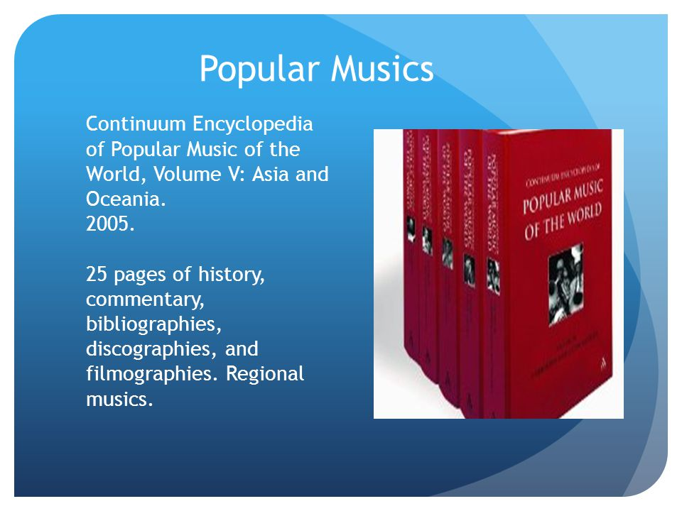 Popular Musics Continuum Encyclopedia of Popular Music of the World, Volume V: Asia and Oceania. 2005.