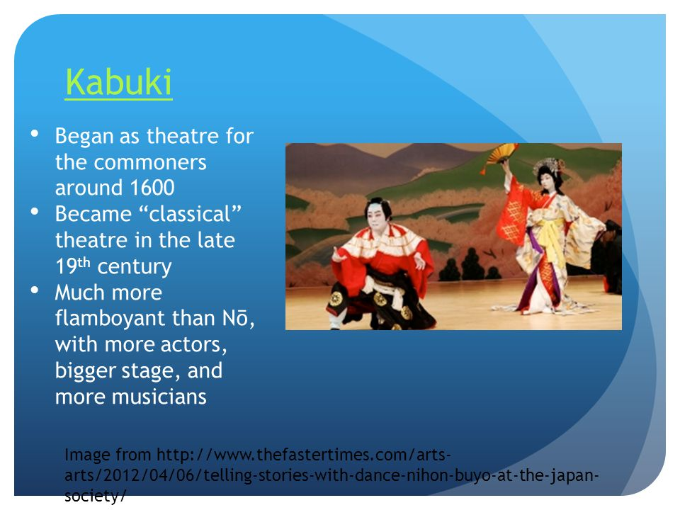 Kabuki Began as theatre for the commoners around 1600