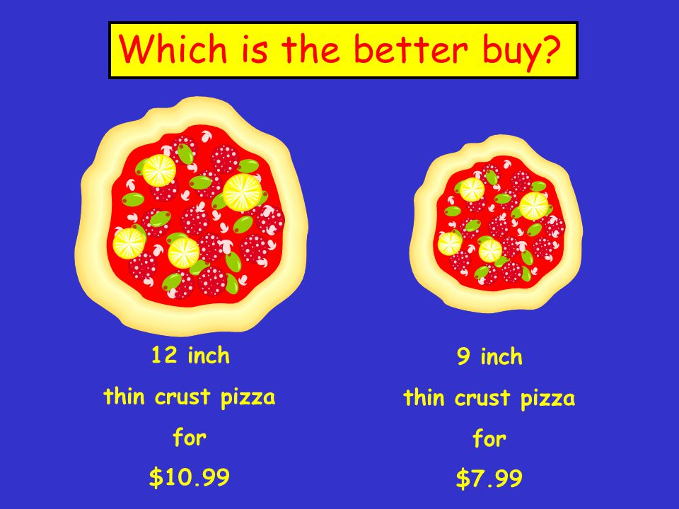 Which is the better buy 12 inch 9 inch thin crust pizza