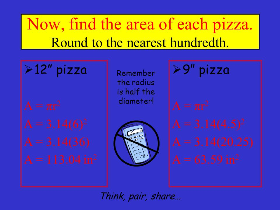 Now, find the area of each pizza. Round to the nearest hundredth.
