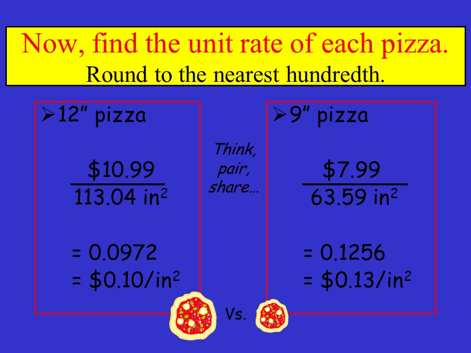 Now, find the unit rate of each pizza. Round to the nearest hundredth.