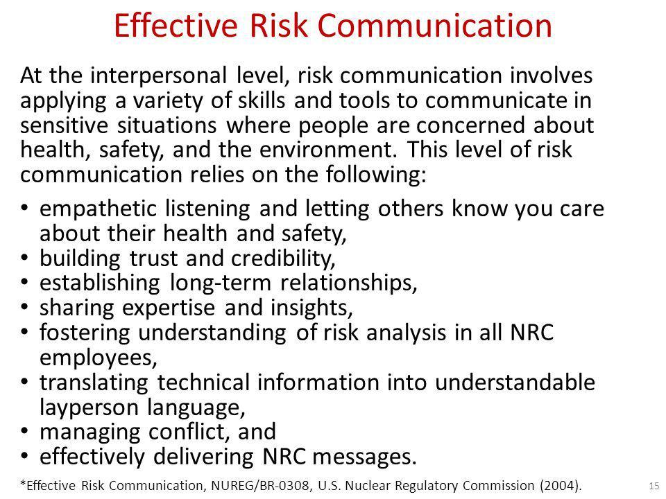 Effective Risk Communication