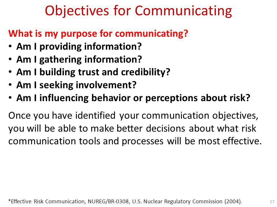Objectives for Communicating