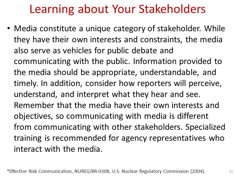 Learning about Your Stakeholders