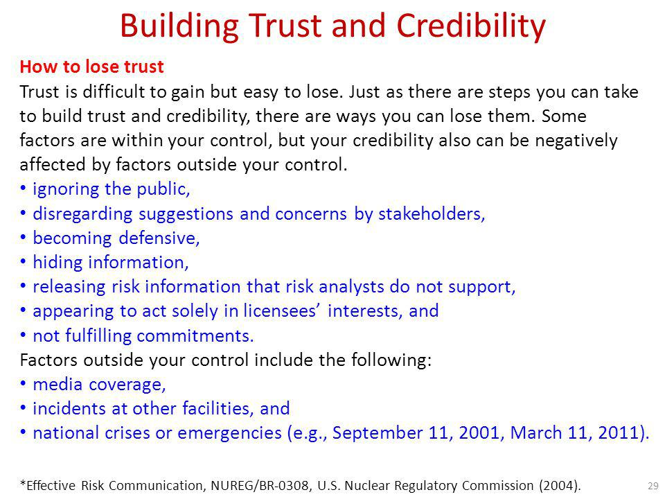 Building Trust and Credibility