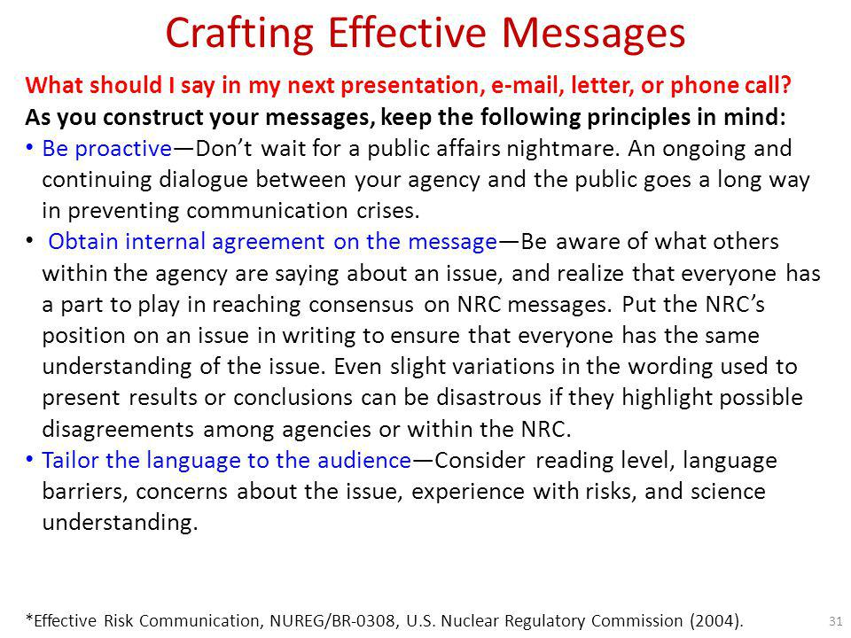Crafting Effective Messages