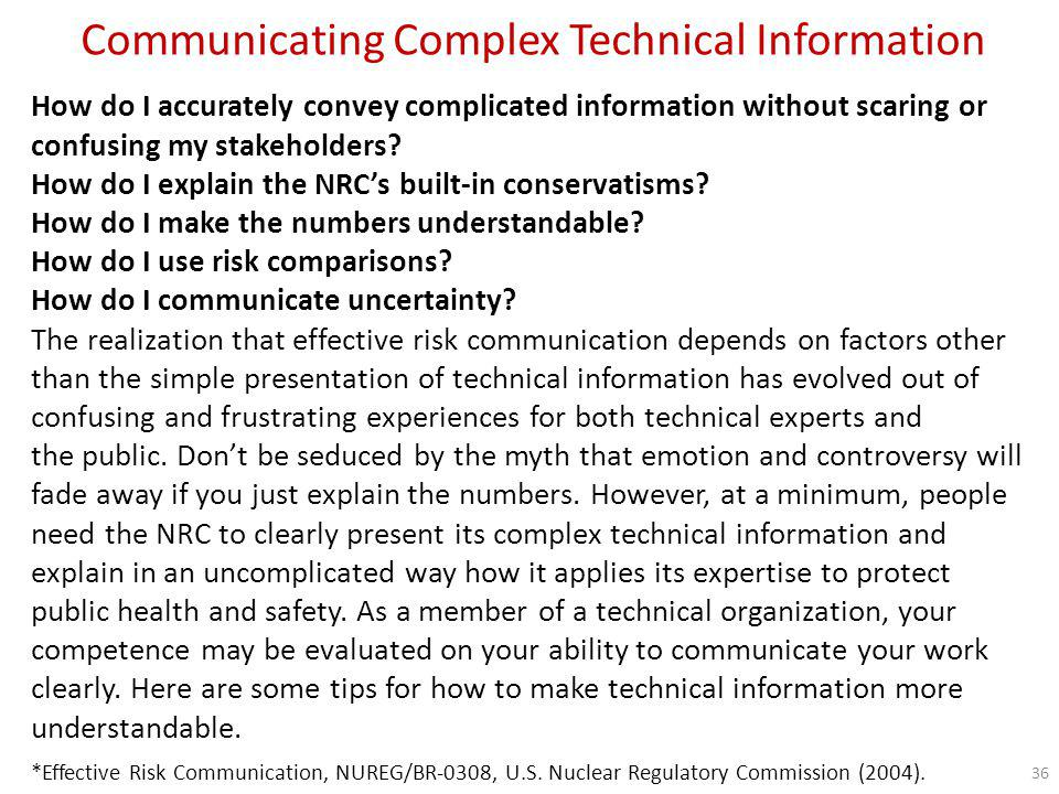 Communicating Complex Technical Information