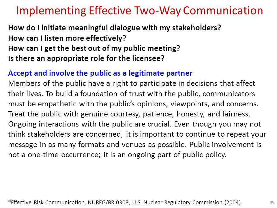 Implementing Effective Two-Way Communication