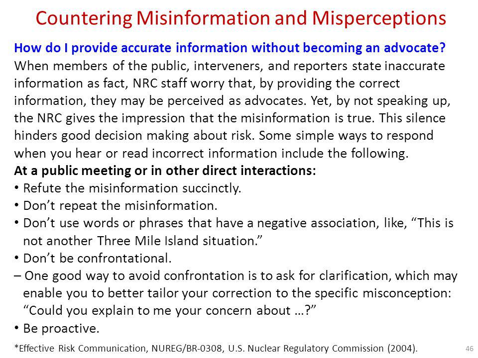 Countering Misinformation and Misperceptions