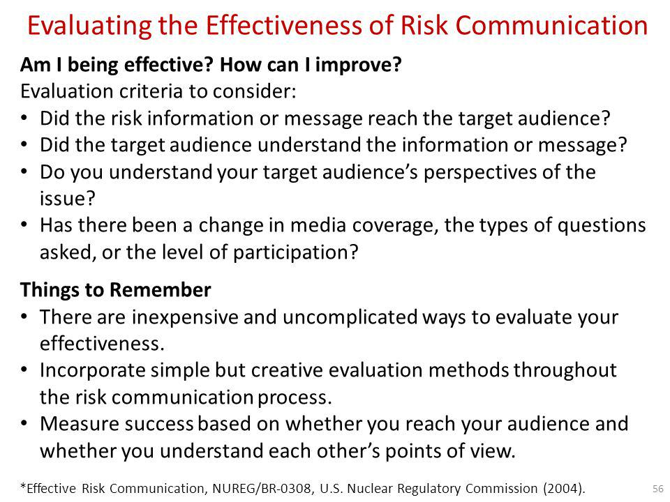 Evaluating the Effectiveness of Risk Communication