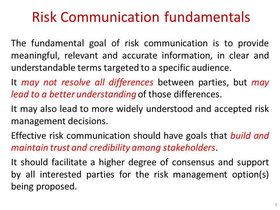 Risk Communication fundamentals