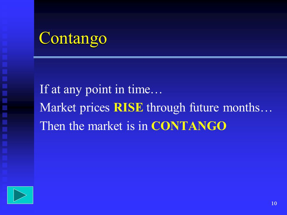 Contango If at any point in time…