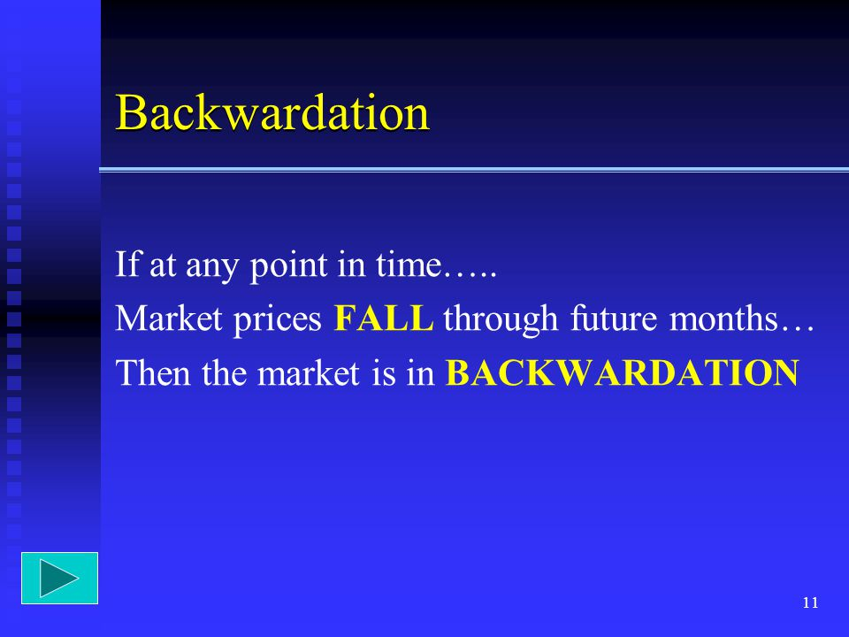 Backwardation If at any point in time…..