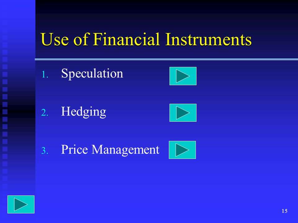 Use of Financial Instruments