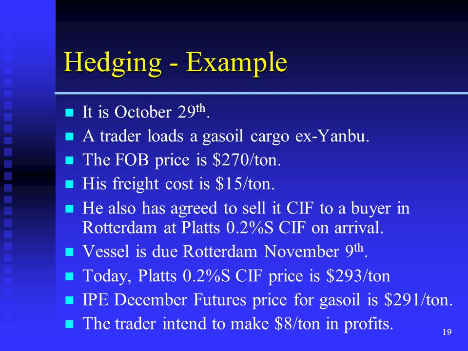 Hedging - Example It is October 29th.