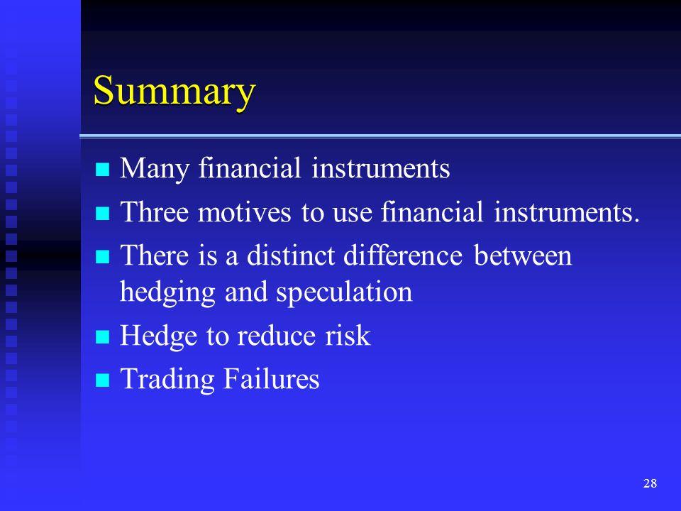 Summary Many financial instruments