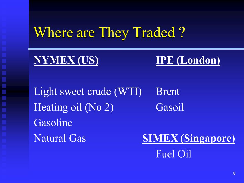 Where are They Traded NYMEX (US) IPE (London)