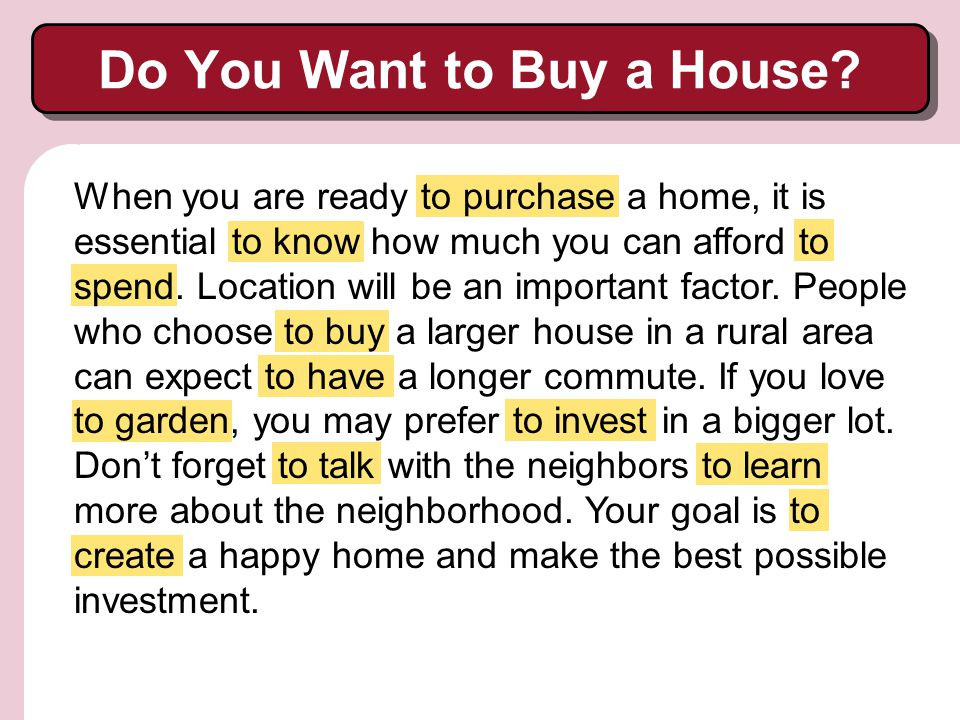 Do You Want to Buy a House