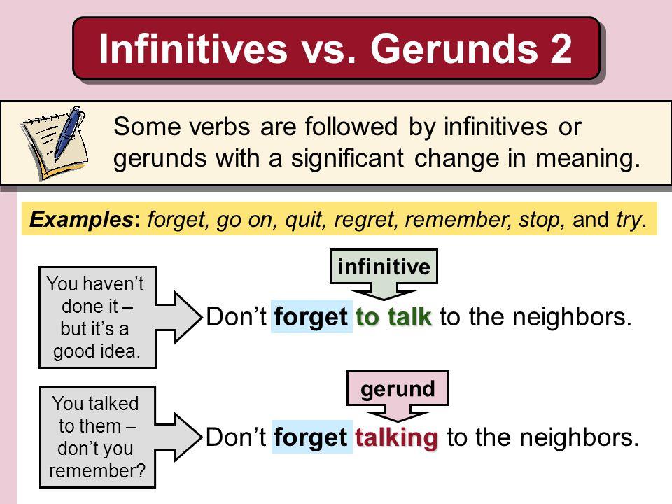 Infinitives vs. Gerunds 2