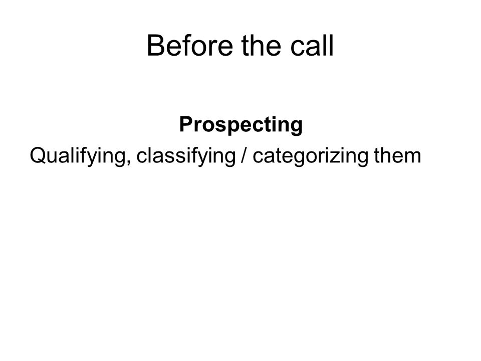 Before the call Prospecting