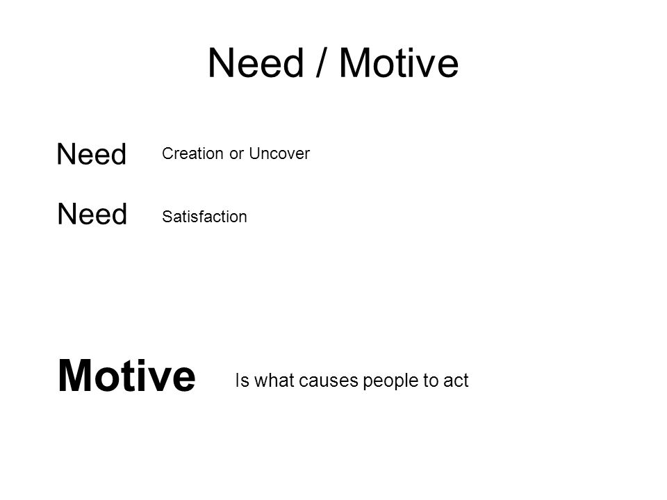 Motive Need / Motive Need Need Is what causes people to act