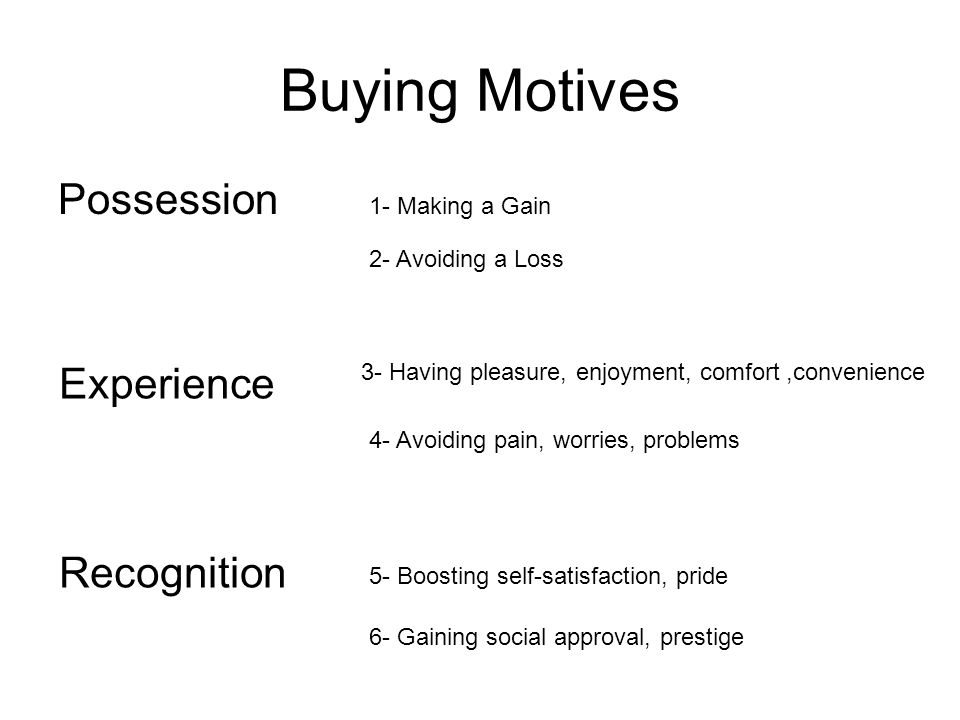 Buying Motives Possession Experience Recognition 1- Making a Gain
