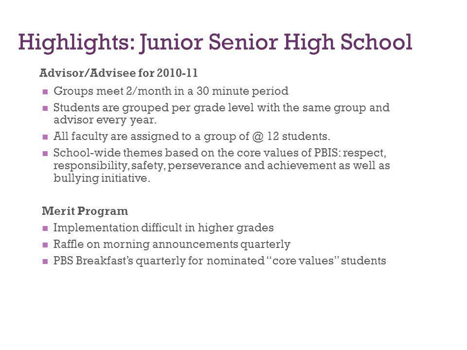 Highlights: Junior Senior High School