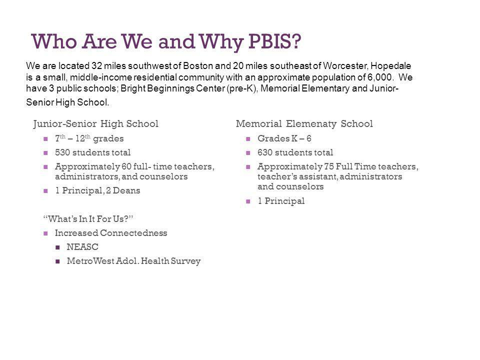 Who Are We and Why PBIS Junior-Senior High School