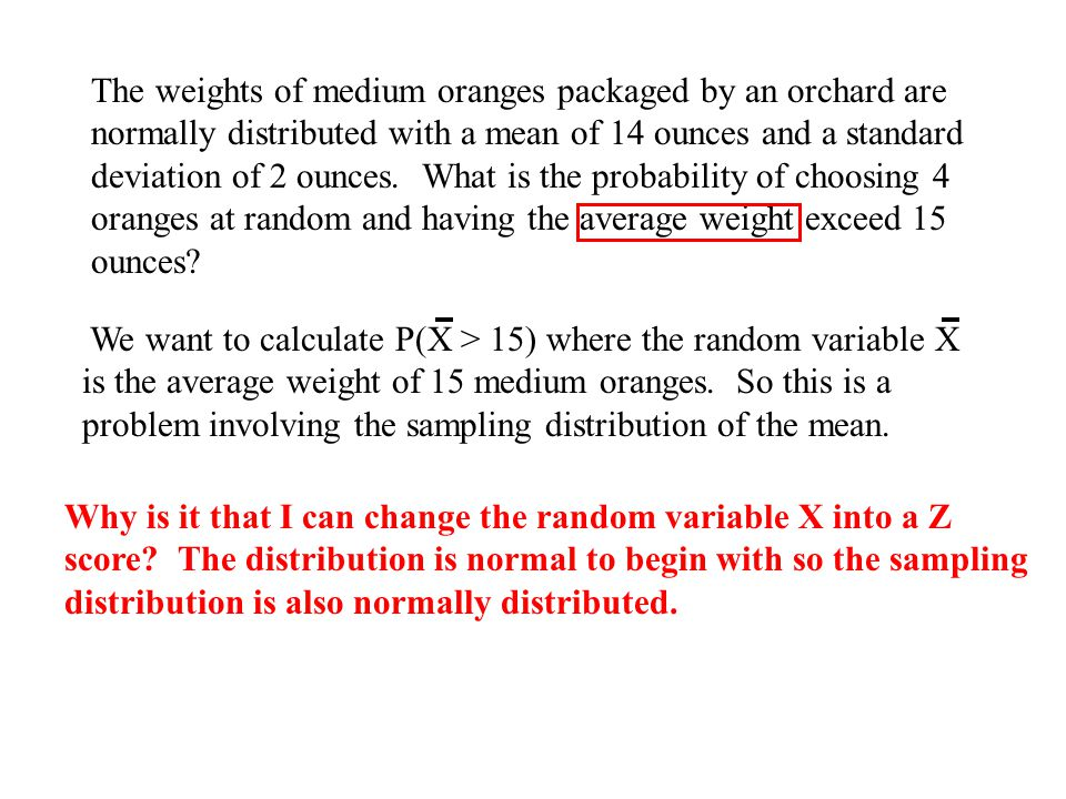The weights of medium oranges packaged by an orchard are normally distributed with a mean of 14 ounces and a standard deviation of 2 ounces. What is the probability of choosing 4 oranges at random and having the average weight exceed 15 ounces