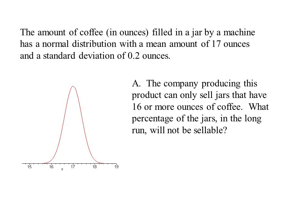 The amount of coffee (in ounces) filled in a jar by a machine has a normal distribution with a mean amount of 17 ounces and a standard deviation of 0.2 ounces.