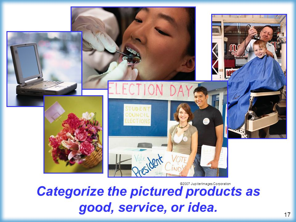 Categorize the pictured products as good, service, or idea.