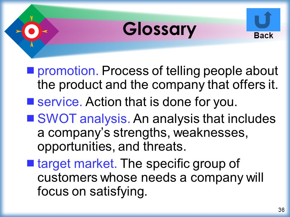 Glossary Back. promotion. Process of telling people about the product and the company that offers it.