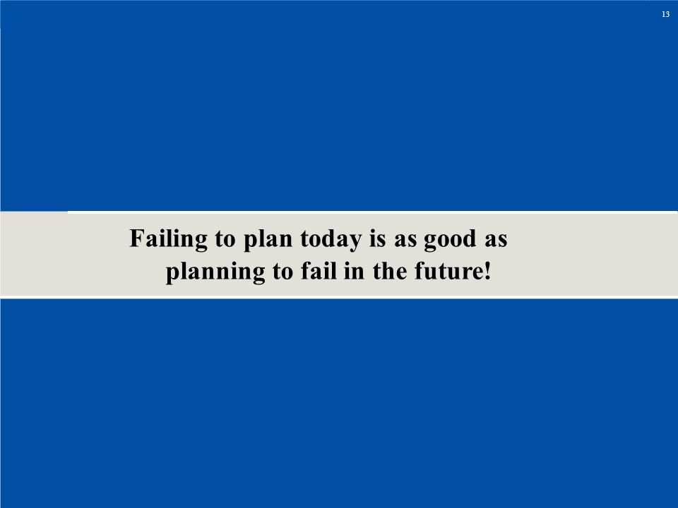 Failing to plan today is as good as planning to fail in the future!