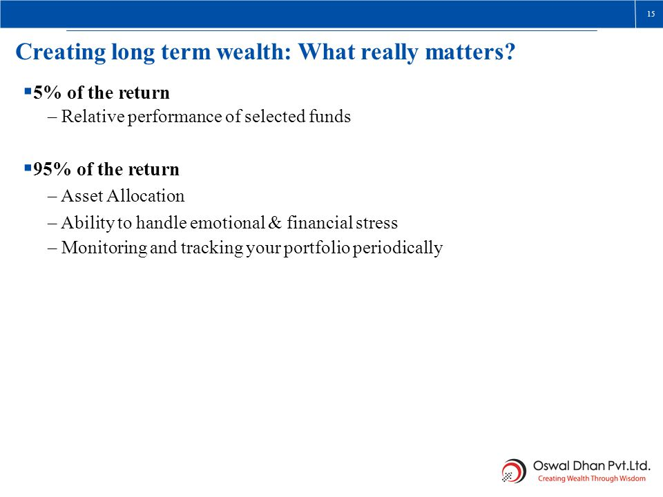 Creating long term wealth: What really matters